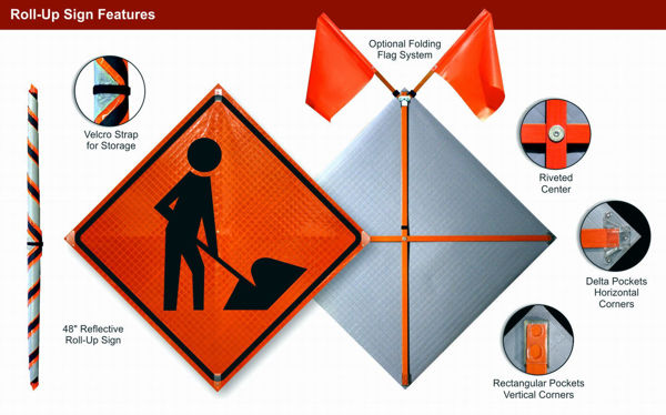 Picture of Utility Work Ahead Roll-Up Sign